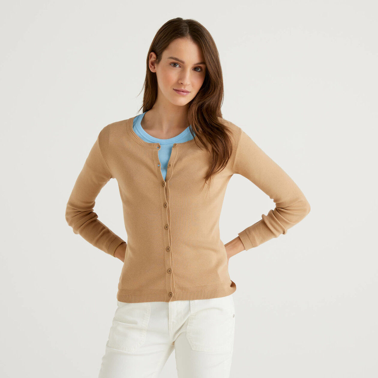 Strickjacke aus Baumwolle mit Rundausschnitt