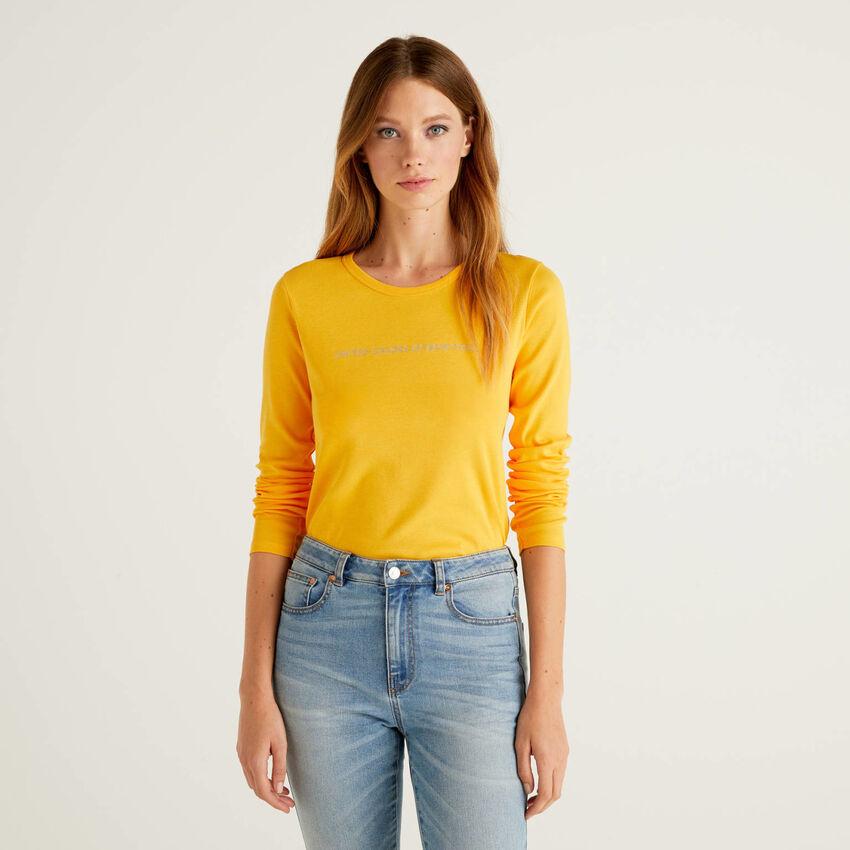 Gelbes T-Shirt aus 100% Baumwolle mit langen Ärmeln