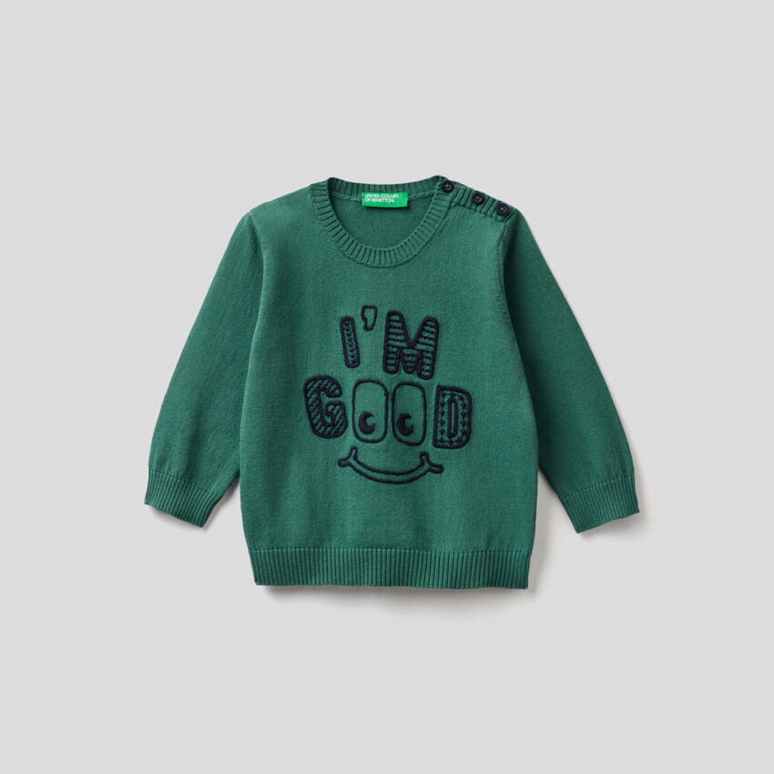 Pullover aus 100% Baumwolle mit Stickerei