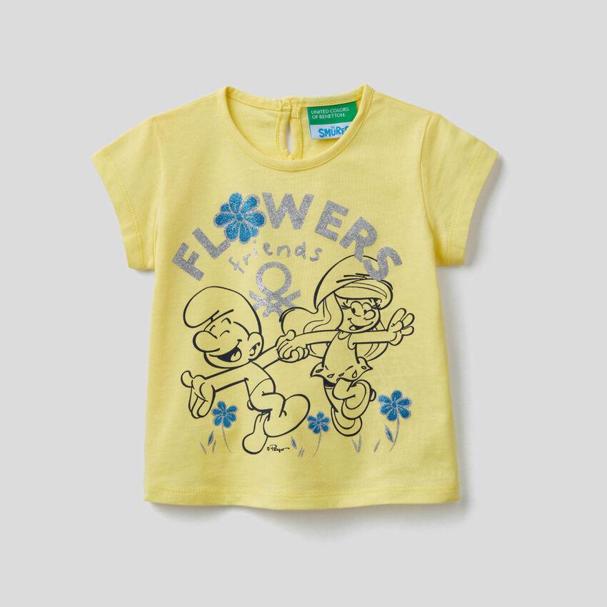 Gelbes T-Shirt mit Print von Die Schlümpfe