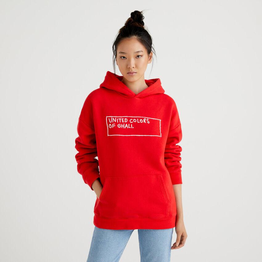 Rotes Unisex-Sweatshirt by Ghali mit Kapuze