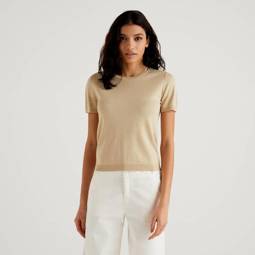 Pullover aus einer Baumwollmischung mit kurzen Ärmeln