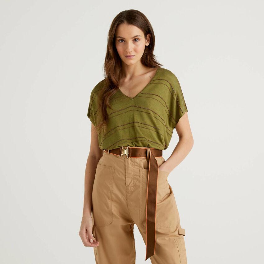 Pullover aus einer Seidenmischung mit kurzen Ärmeln