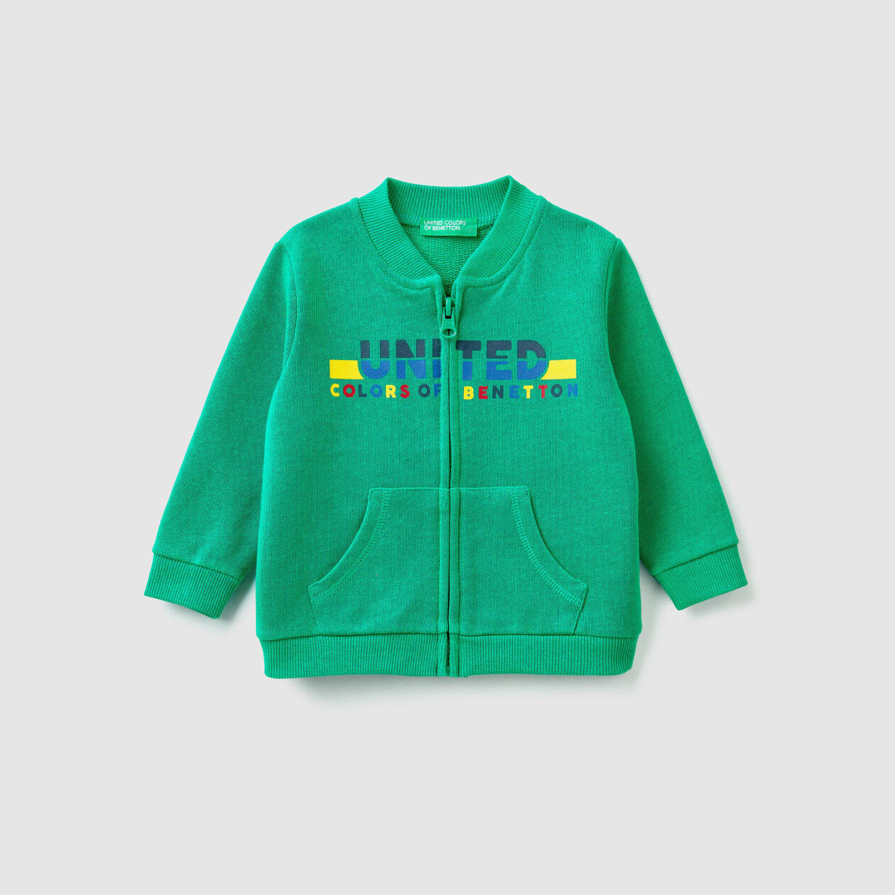 Sweatshirt mit Reißverschluss und aufgedrucktem Logo