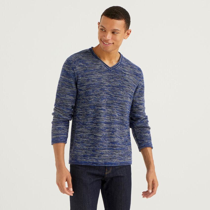 Pullover mit meliertem Effekt und V-Ausschnitt