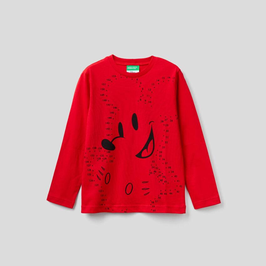 T-Shirt mit langen Ärmeln und Micky Maus-Print