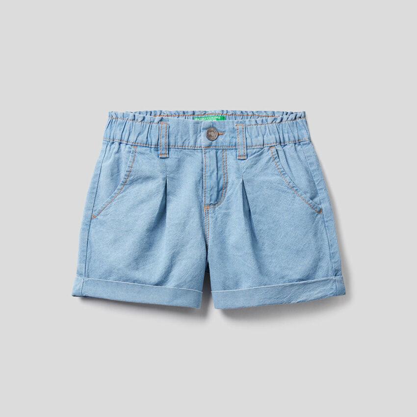 Shorts mit Jeans-Effekt und Aufschlag