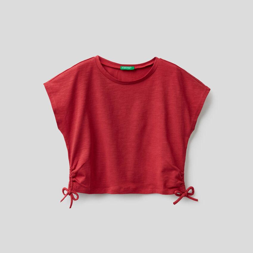 T-Shirt aus stretchiger Baumwolle mit Maschen