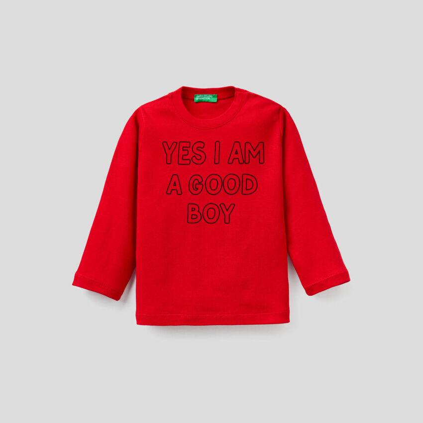 T-Shirt mit langen Ärmeln und aufgedrucktem Slogan