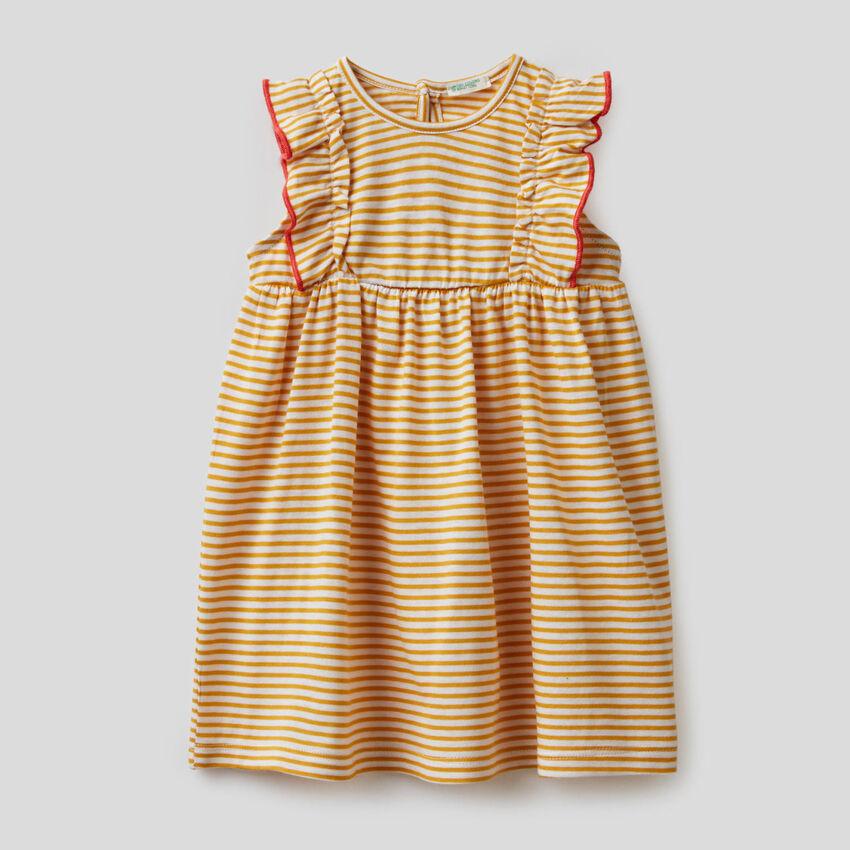 Gestreiftes Kleid aus 100% Bio-Baumwolle