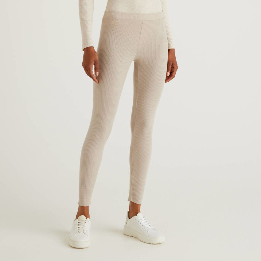 Stretch-Leggings aus gemischtem Cashmere
