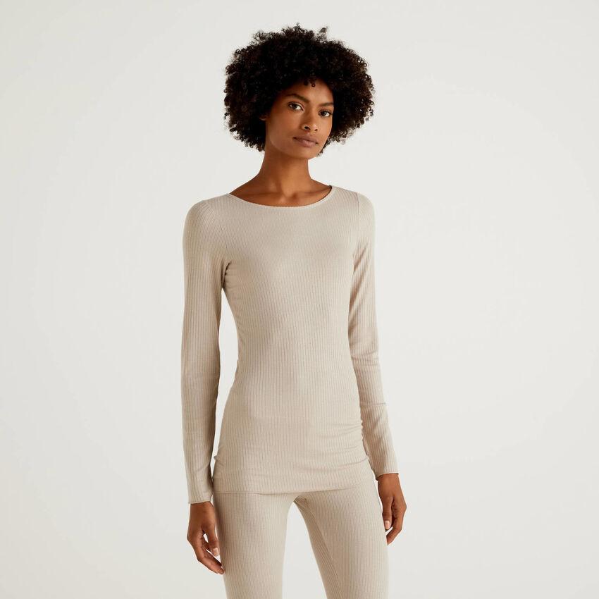 Langärmeliges T-Shirt aus gemischtem Cashmere