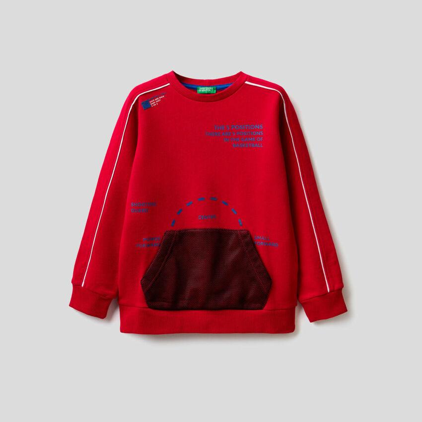 Sweatshirt aus Baumwolle mit Tasche vorne