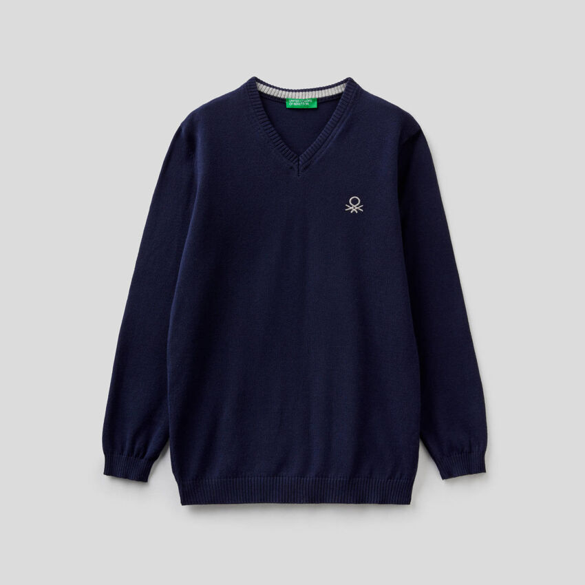 Pullover mit V-Ausschnitt in 100% Baumwolle
