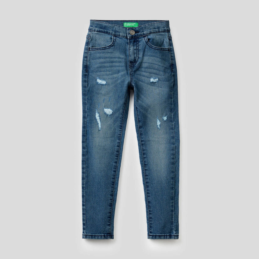 Skinny-Fit-Jeans mit Used-Effekt
