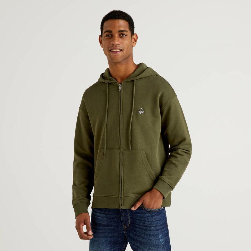 Sweatshirt aus Baumwolle mit Reißverschluss und Kapuze