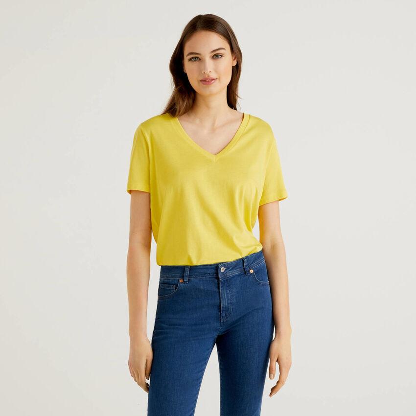 T-Shirt mit Rückenteil aus Viskose