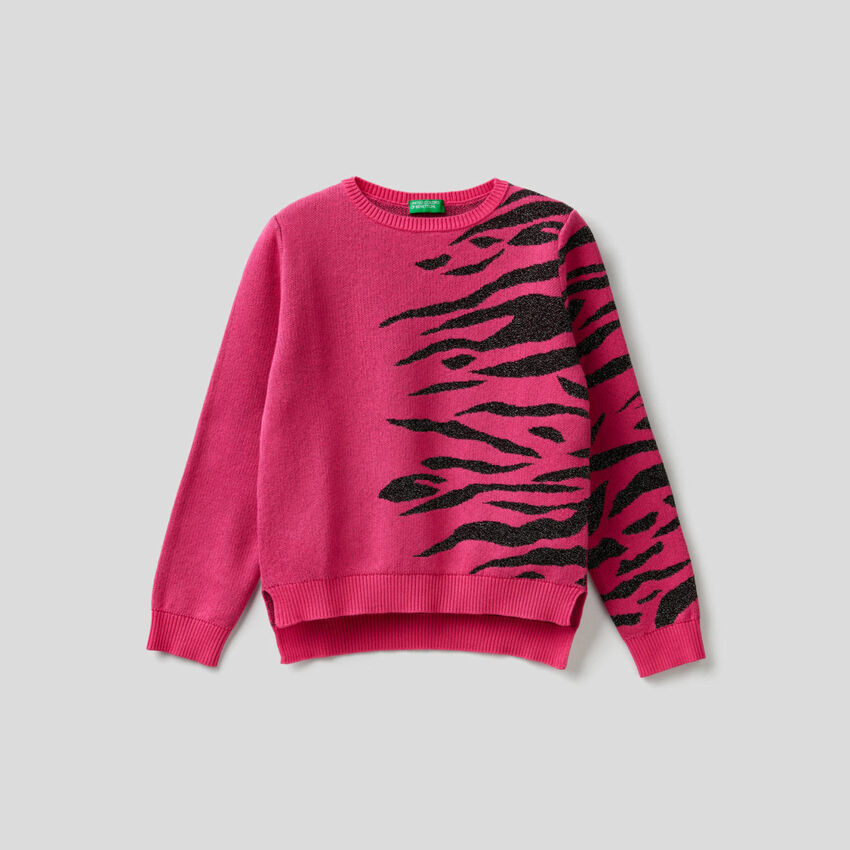 Pullover mit Animalier-Intarsienarbeit