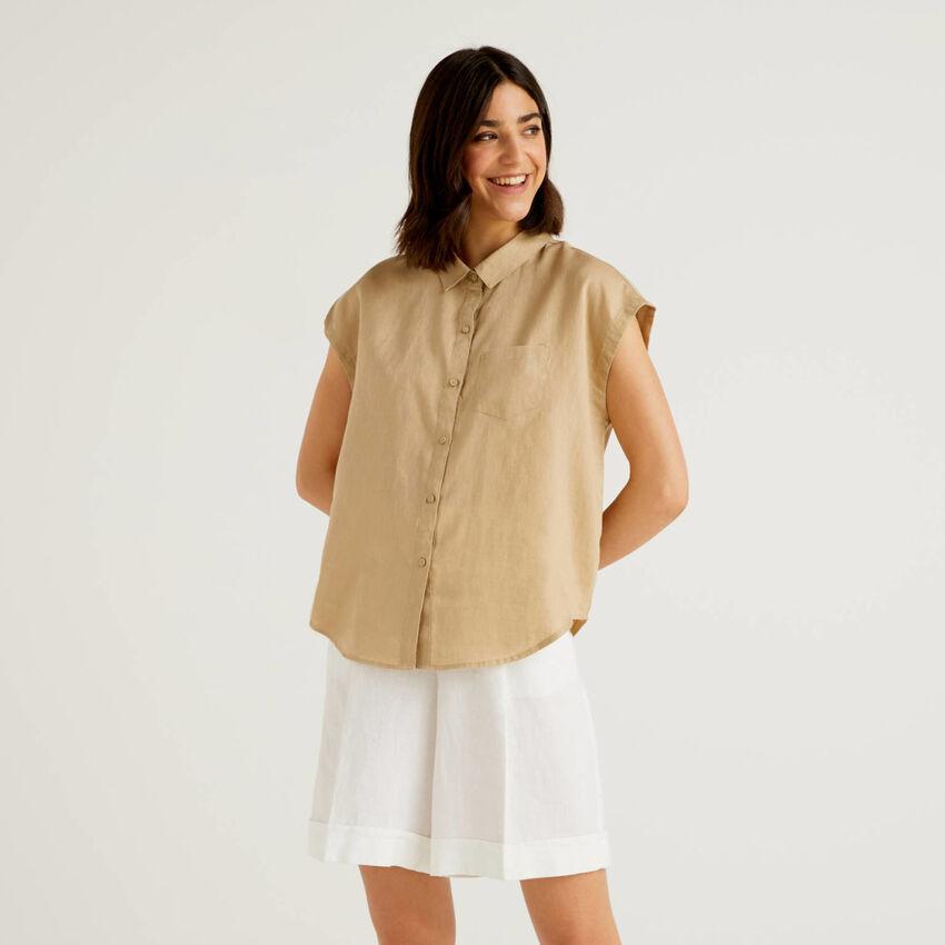 Bluse aus 100% Leinen mit kurzen Ärmeln