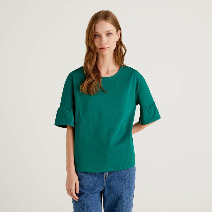 T-Shirt mit kurzen Volant-Ärmeln