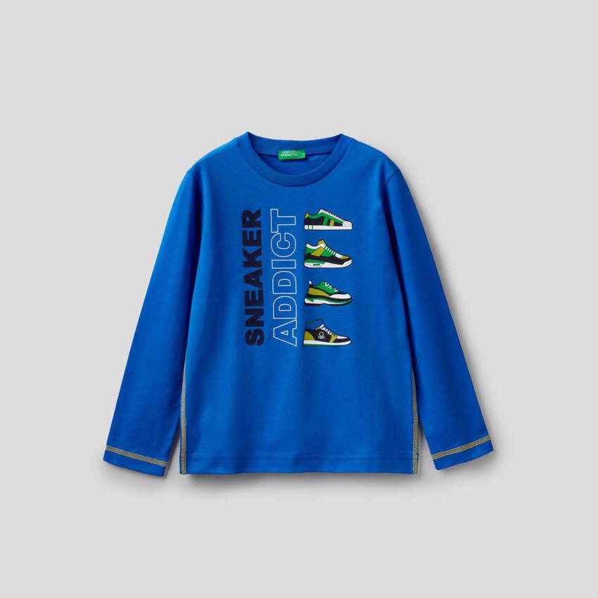 T-Shirt aus 100% Baumwolle in Bluette mit langen Ärmeln