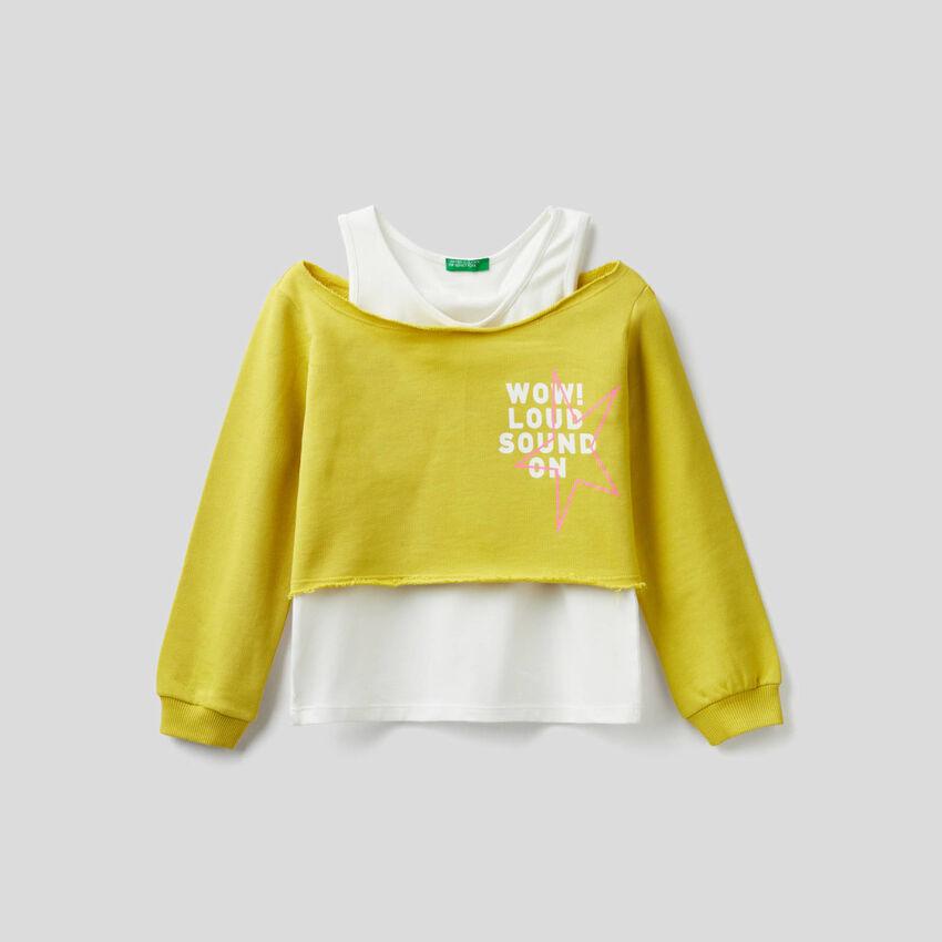 Sweatshirt in zwei Schichten mit Top