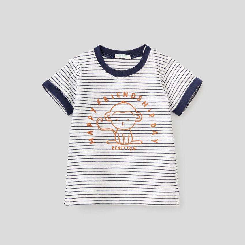 Gestreiftes T-Shirt aus reiner Bio-Baumwolle