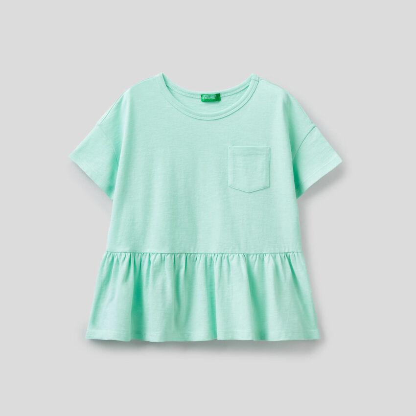 T-Shirt aus reiner Baumwolle mit Rüsche