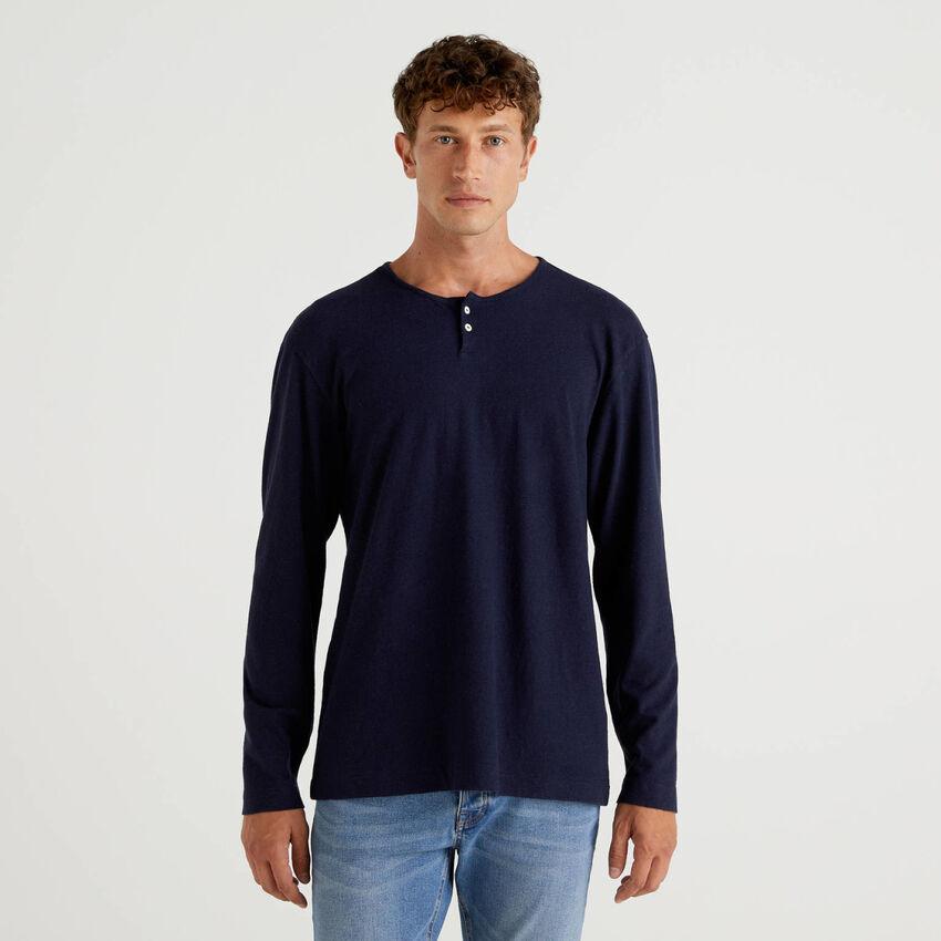 Henley-T-Shirt aus einer Leinenmischung