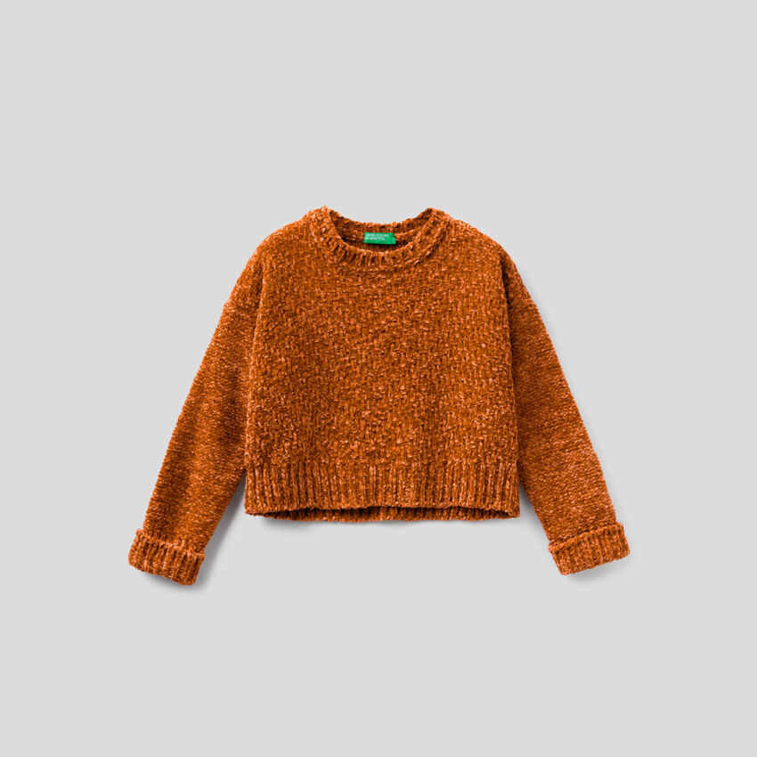 Cropped-Pullover aus Chenille