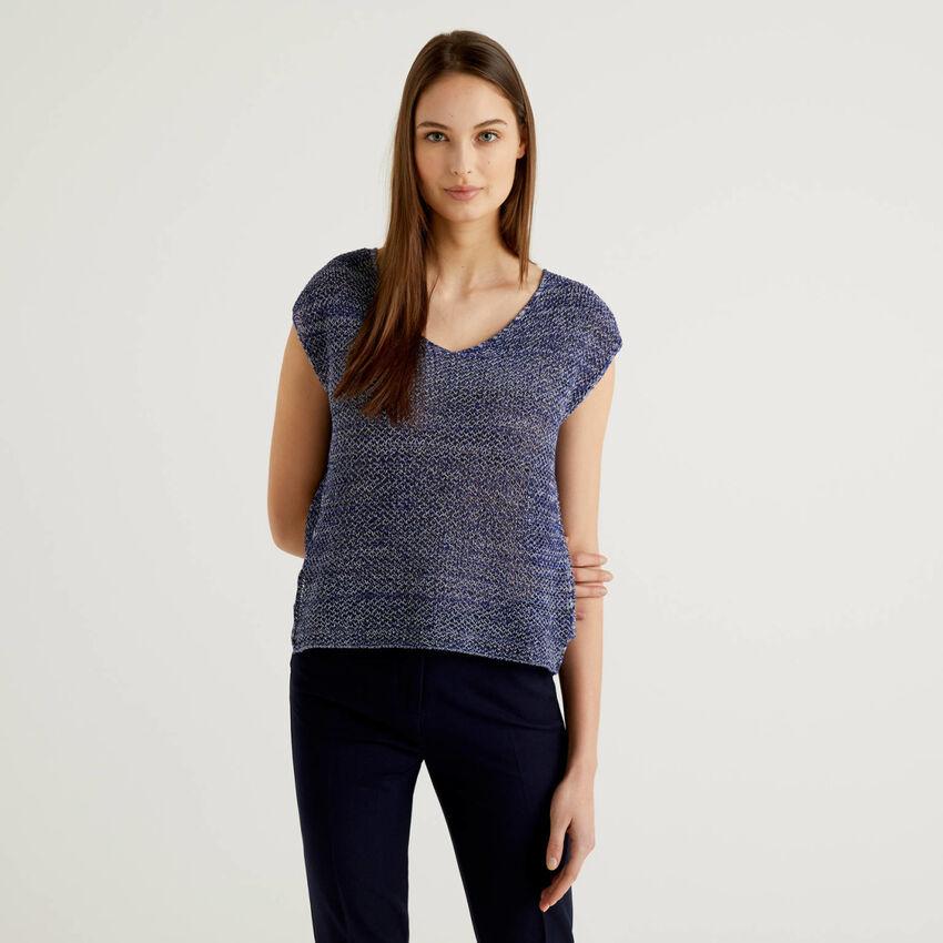 Pullover aus 100% Baumwolle mit Verarbeitung im Netzmuster