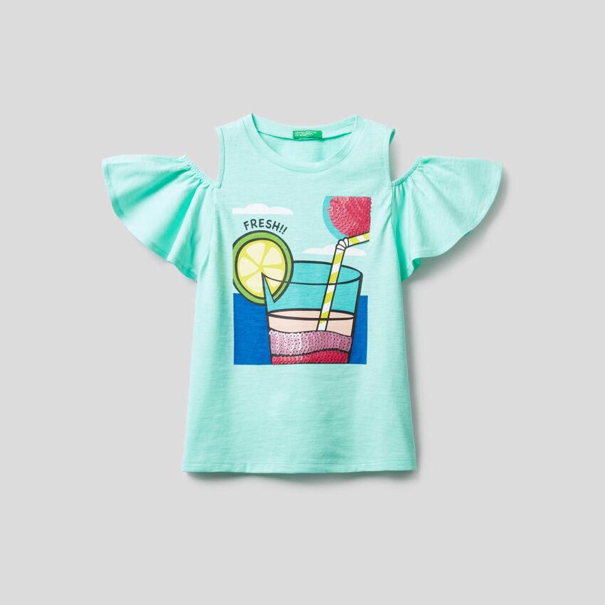 T-Shirt mit Details in Pailletten