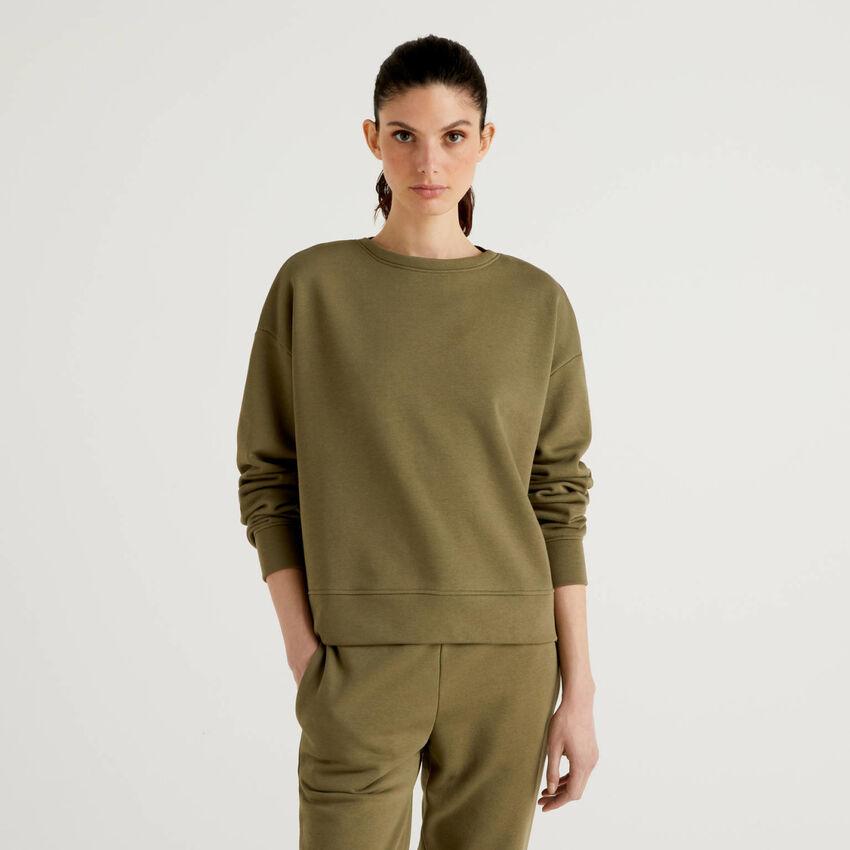 Militärgrünes Sweatshirt in einer Baumwollmischung