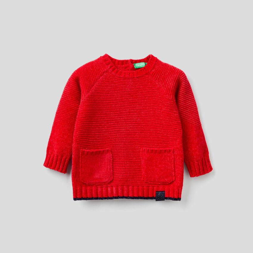 Pullover aus Chenille mit Taschen