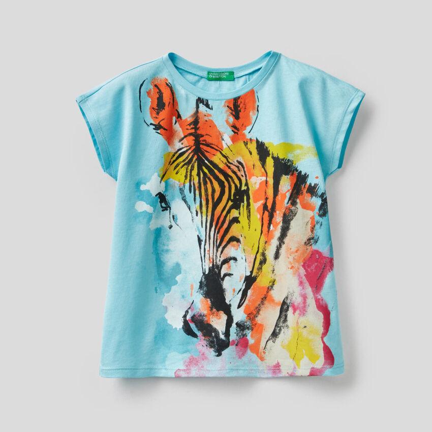 T-Shirt mit buntem Zebraprint