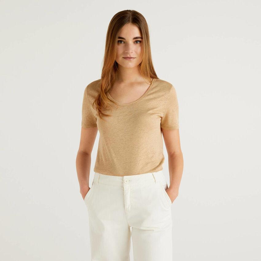 T-Shirt in reinem Leinen mit Rundausschnitt