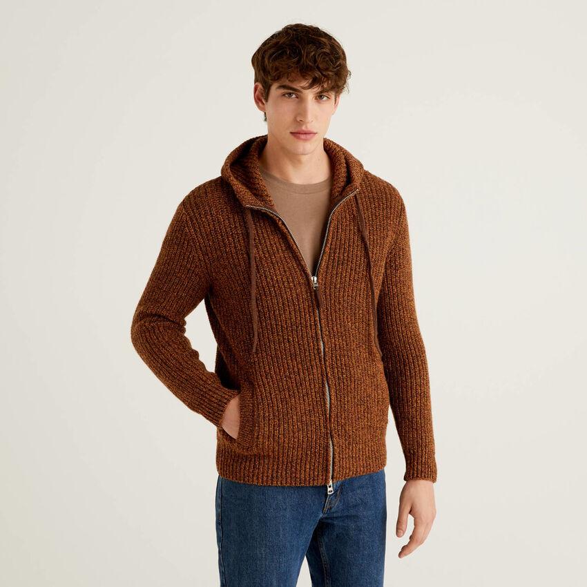 Pullover aus Shetlandwolle mit Kapuze