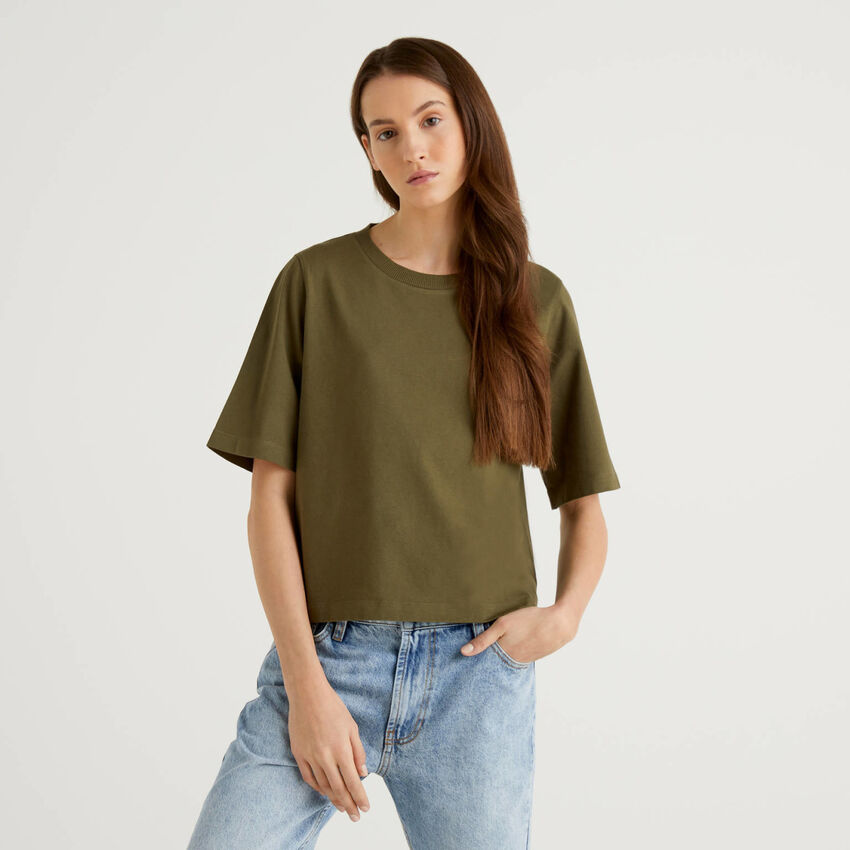 T-Shirt aus 100% Baumwolle im Boxy Fit