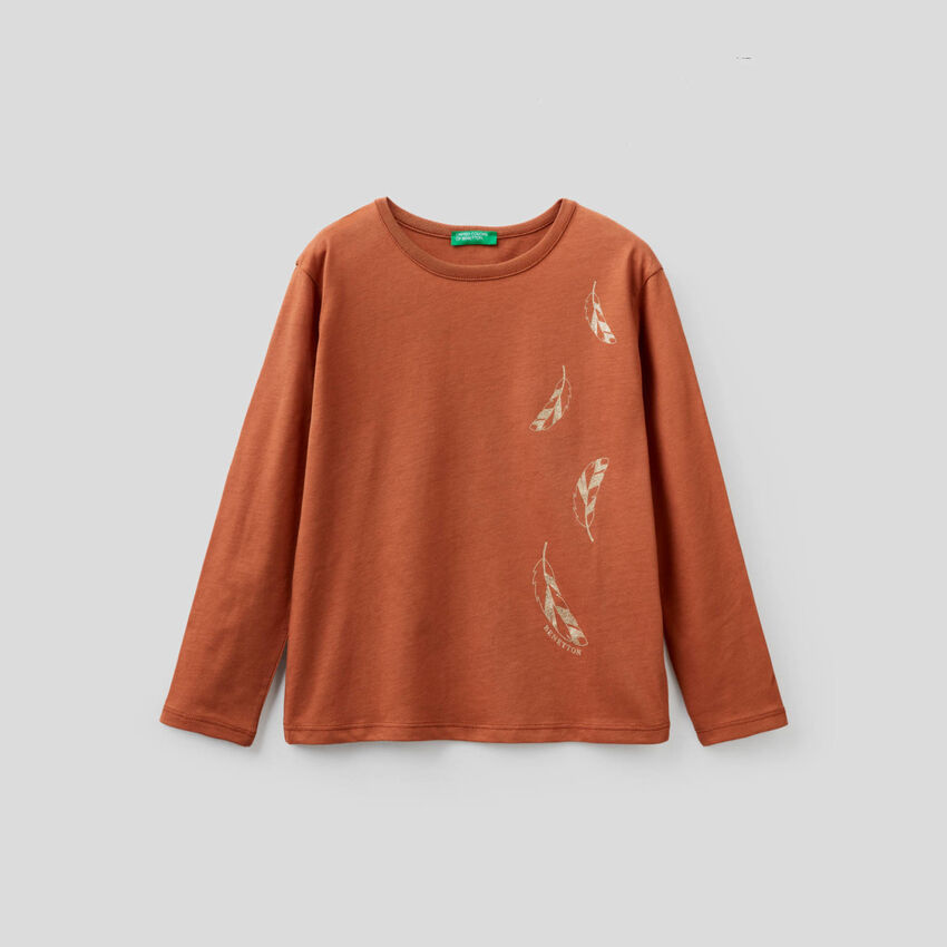 T-Shirt mit langen Ärmeln und Glitzerprint