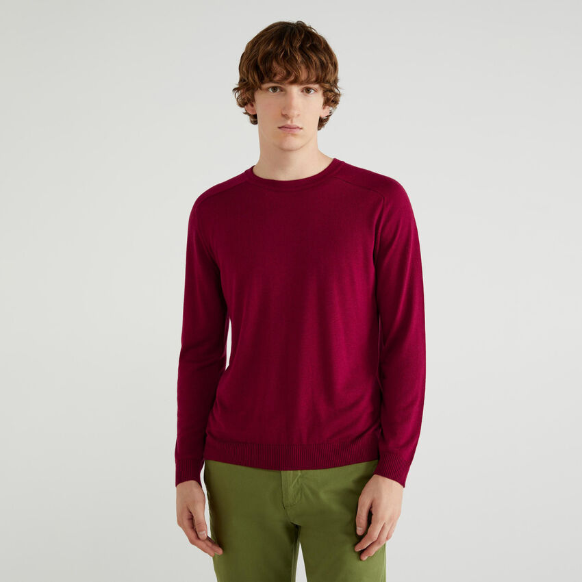 Pullover mit Rundausschnitt aus Viskose und Wolle