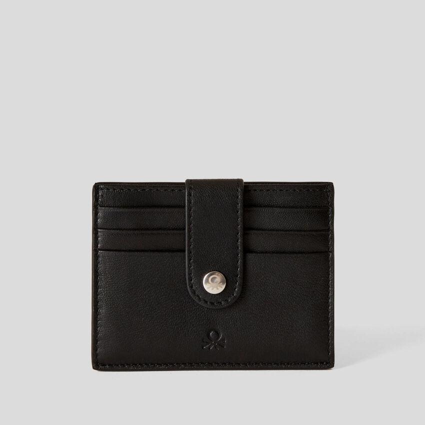 Kompakte Brieftasche aus echtem Leder