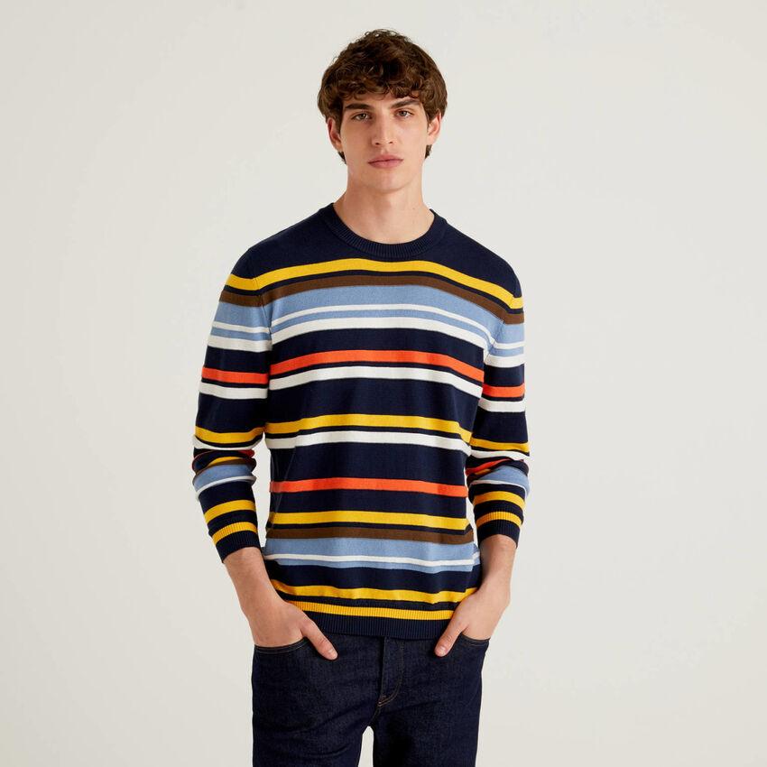 Gestreifter Pullover aus 100% Baumwolle mit warmer Haptik