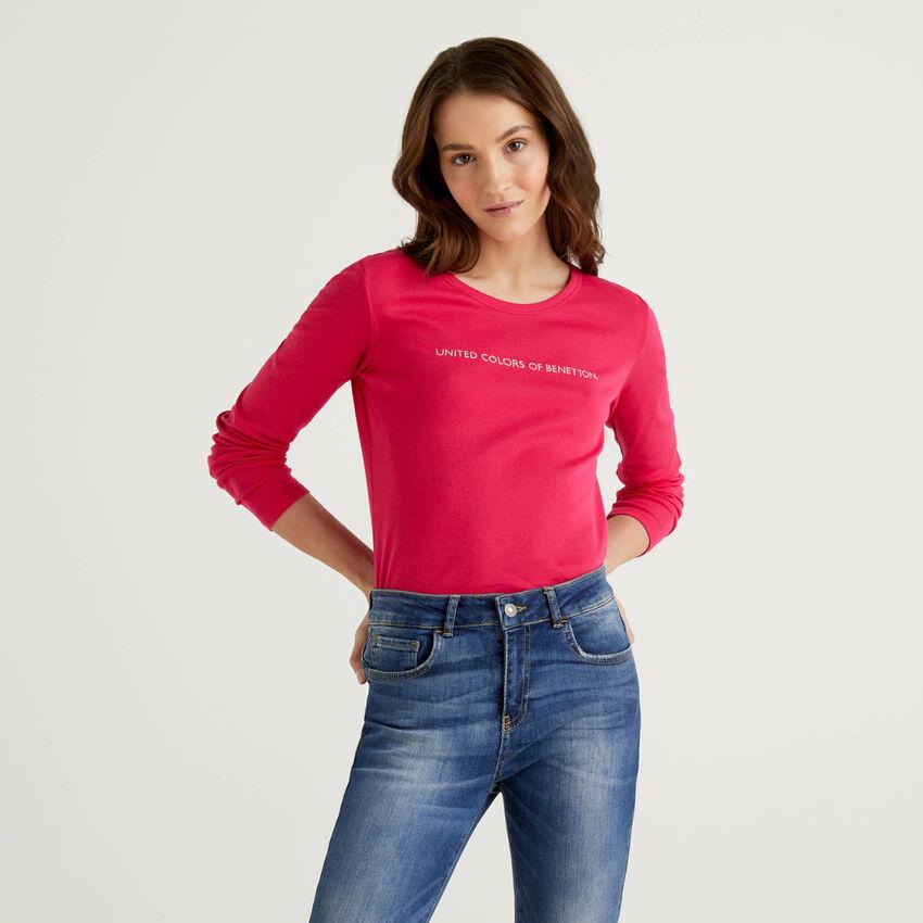 T-Shirt aus 100% Baumwolle mit langen Ärmeln in Zyklame
