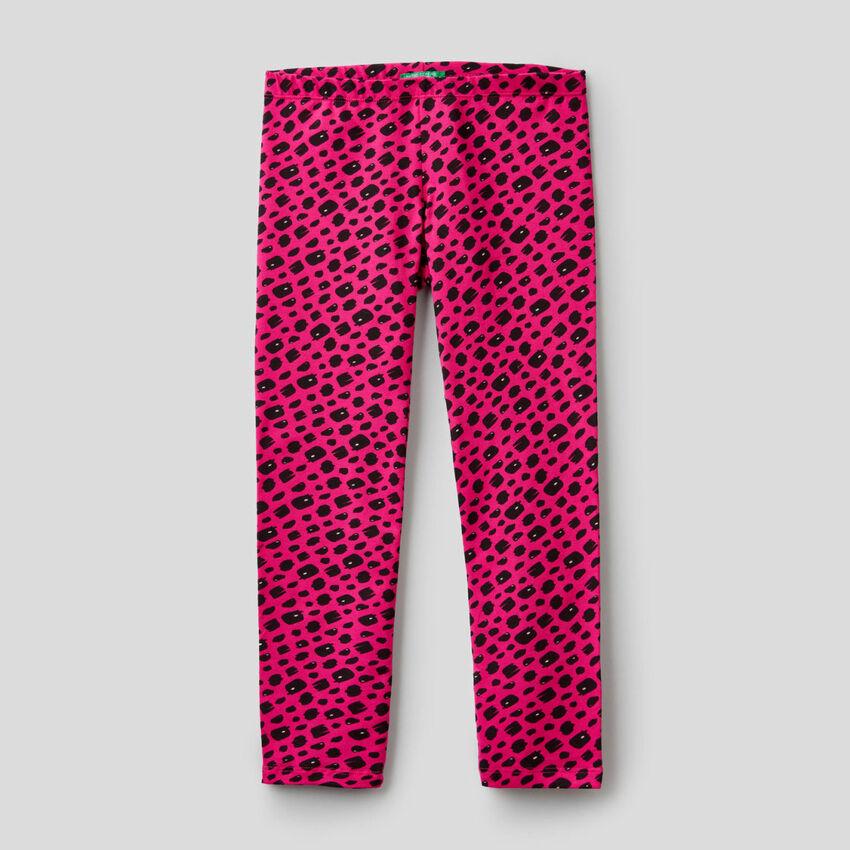 Leggings mit Print aus stretchiger Baumwolle