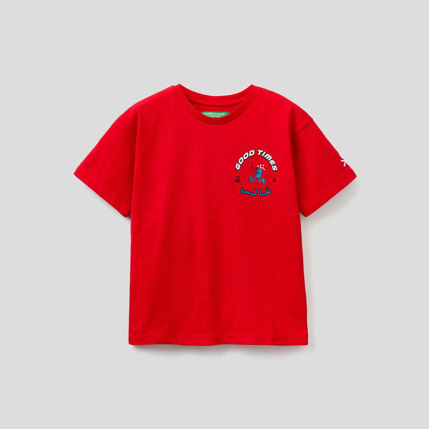 Rotes Unisex-T-Shirt mit Prints by Ghali
