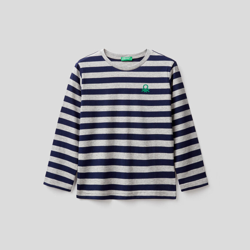 T-Shirt aus 100% Baumwolle mit Streifen