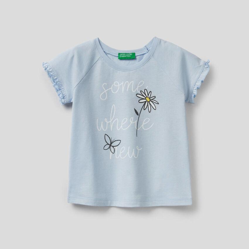 T-Shirt mit Rüschen und Glitter