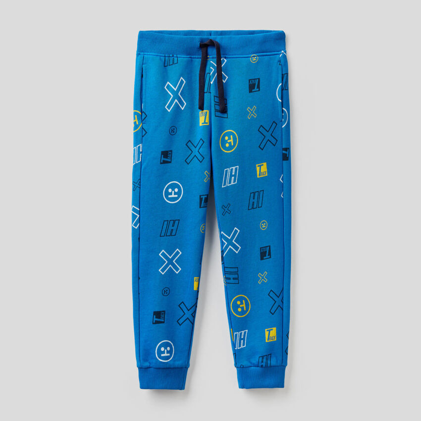 Hose aus Sweatstoff mit Musterprint