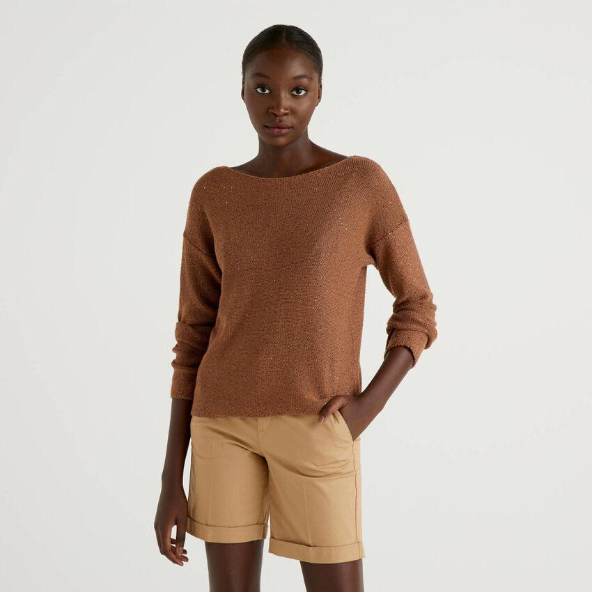 Pullover mit tiefem Rundausschnitt