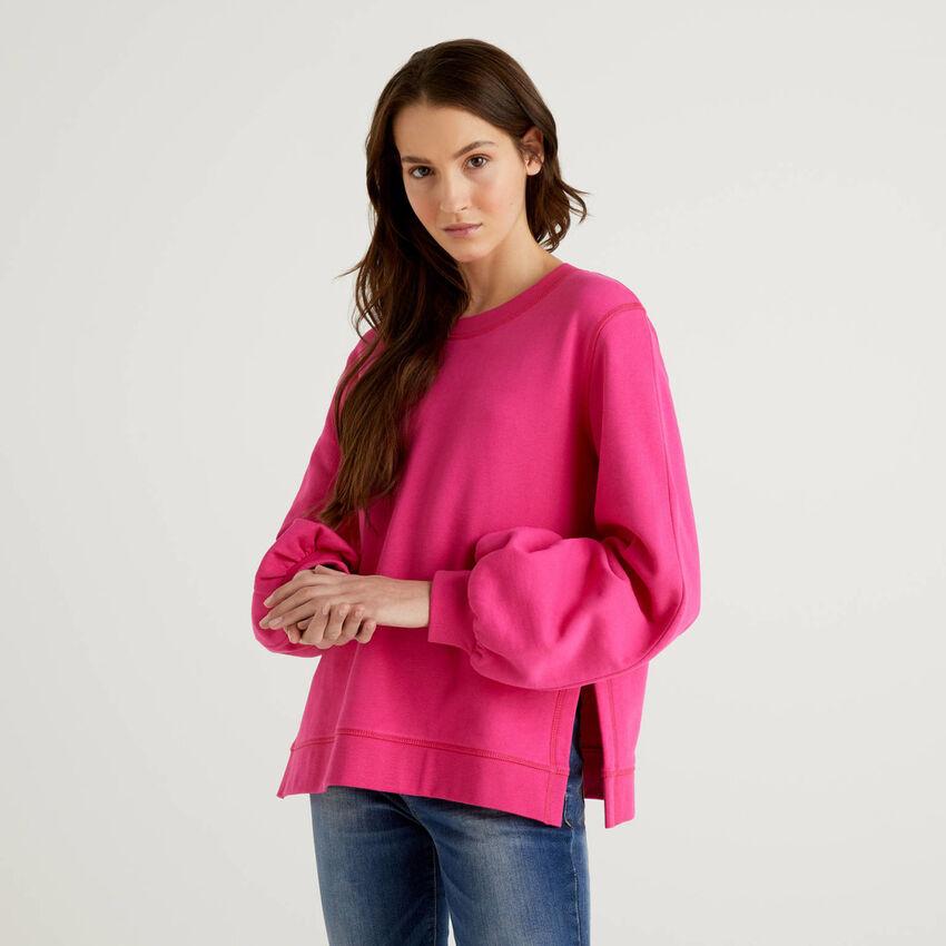 Sweatshirt aus Baumwolle mit Puffärmeln
